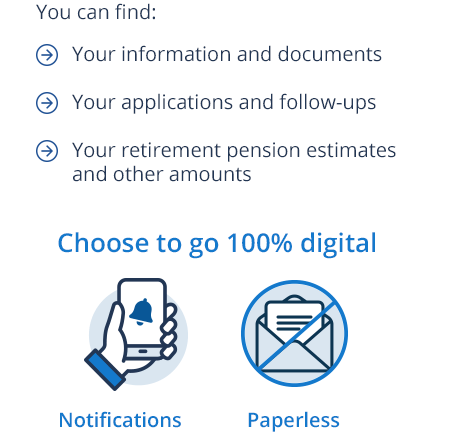 You can find: Your information and documents, Your applications and follow-ups, Your retirement pension estimates and other amounts, Choose to go 100% digital, Notifications, Paperless.