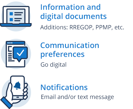Communication preferences - Go digital, Information and digital documents - Additions: RREGOP, PPMP, etc., Notifications - Email and/or text message