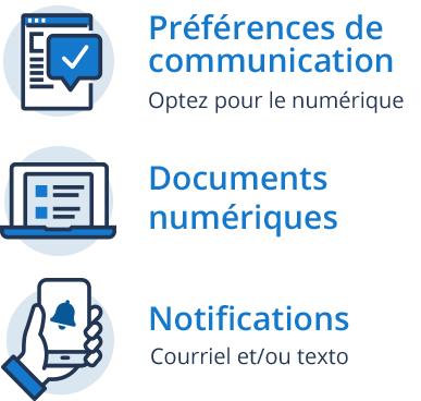 Préférences de communication - Optez pour le numérique, Documents numériques,  Notifications courriel et/ou texto