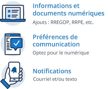Préférences de communication - Optez pour le numérique, Informations et documents numériques - Ajouts : RREGOP, RRPE, etc.,  Notifications - courriel et/ou texto